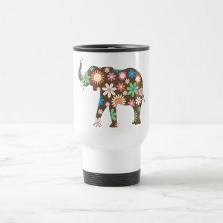 Elephant Funky retro floral flowers colorful cute Travel Mug