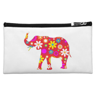 Elephant funky retro floral flowers colorful, gift cosmetic bag