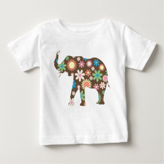 Elephant Funky retro floral flowers colorful tee