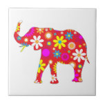 Elephant funky retro floral flowers tile, trivet