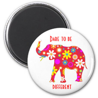 Elephant Funky retro floral flowery flower magnet