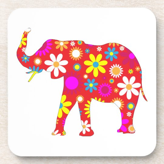 Elephant funky retro floral flowery fun coaster