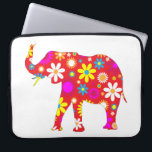 "Elephant funky retro floral flowery fun laptop bag<br><div class=""desc"">Elephant,  funky,  retro,  floral,  flowers,  flowery,  fun,  colorful laptop bag.  great gift idea for animal lovers</div>"