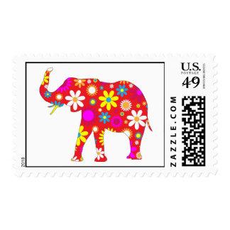 Elephant Funky retro floral flowery postage stamp