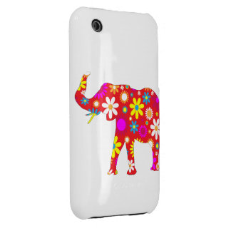 Elephant funky retro floral iphone 3G case iPhone 3 Cover