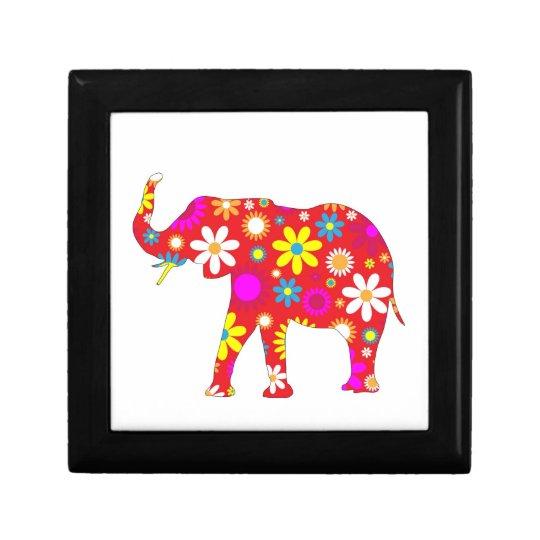 Elephant funky retro floral  jewelry, trinket box