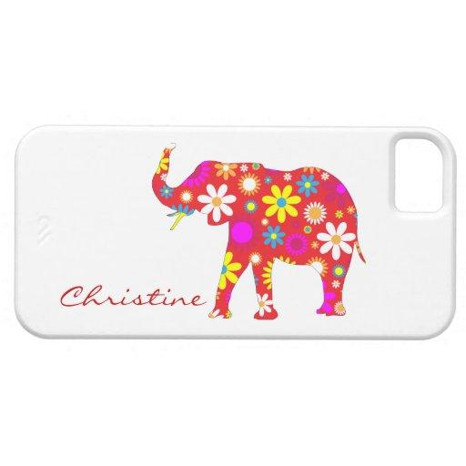 Elephant funky retro flowers custom girls name iPhone 5 case