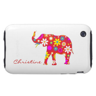 Elephant funky retro flowers custom girls name iPhone 3 tough cover