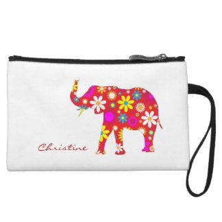 Elephant funky retro flowers custom girls name wristlet