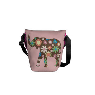 Elephant funky retro flowers floral colorful cute courier bag