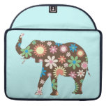 Elephant funky retro flowers floral colorful cute MacBook pro sleeves