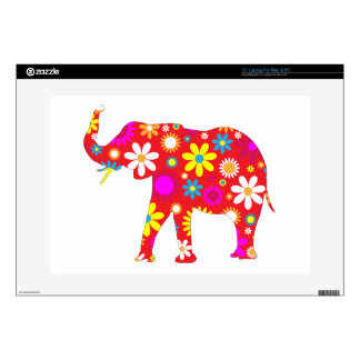 "Elephant funky retro flowers floral colorful, gift 15"" laptop skin"