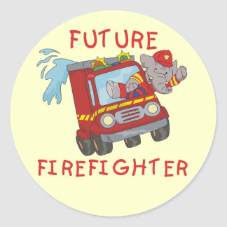 Elephant Future Firefighter Tshirts and Gifts Classic Round Sticker