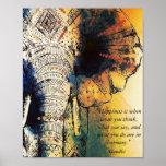 """Elephant Gandhi Quote Poster<br><div class=""""desc"""">High quality poster art print.</div>"""