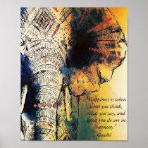 Elephant Gandhi Quote Poster
