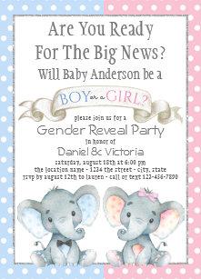 Gender reveal invitations zazzle elephant gender reveal baby shower invitations filmwisefo