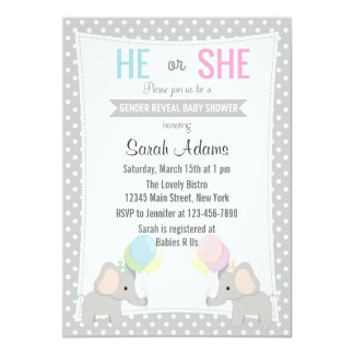 Elephant Gender Reveal Party Invitation