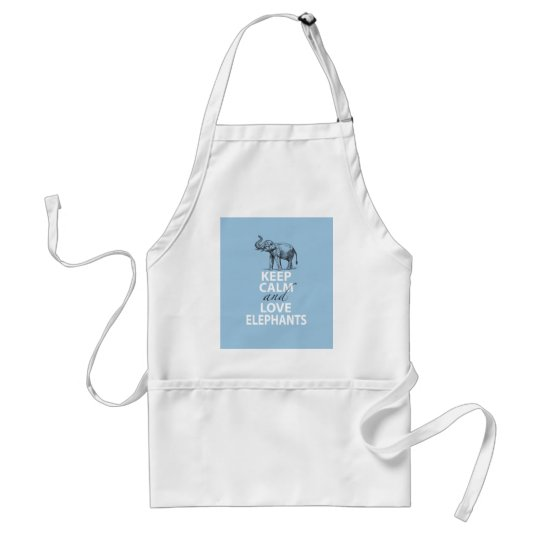 Elephant Gift Keep Calm and Love Elephants Print Adult Apron