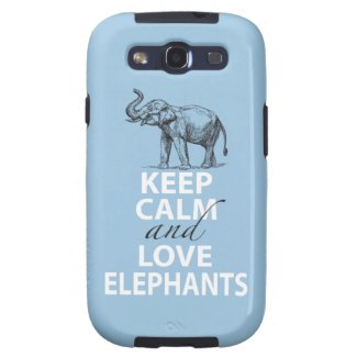 Elephant Gift Keep Calm and Love Elephants Print Galaxy SIII Cover