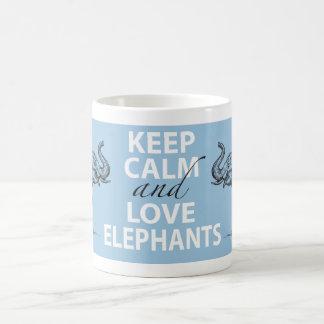 Elephant Gift Keep Calm and Love Elephants Print Classic White Coffee Mug