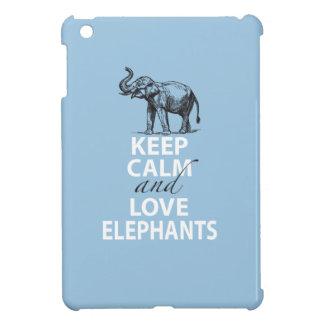 Elephant Gift Keep Calm and Love Elephants Print iPad Mini Cover