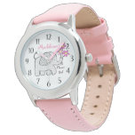 Elephant Gingham Flower Girl Wristwatch<br><div class='desc'>Cute gingham elephant with a bouquet of pink flowers for your sweet flower girl.  This watch makes the perfect wedding thank you gift for a special little flower girl.  Personalize with a name to make it extra special.</div>