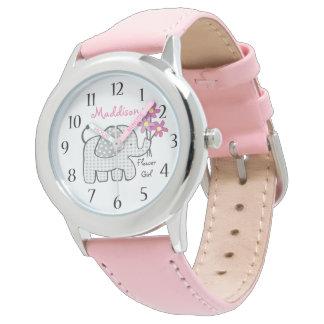 Elephant Gingham Flower Girl Wristwatch