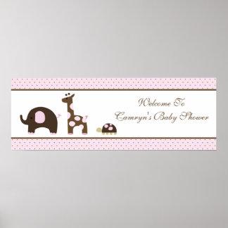 Elephant & Giraffe in pink Baby Shower Banner Poster