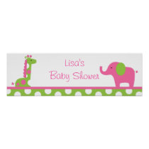 Elephant Giraffe Polka Dot Birthday Banner Sign
