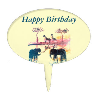 Elephant, Giraffe Safari Sunset Art Cake Topper