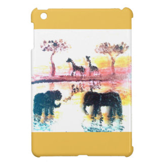 Elephant, Giraffe Safari Sunset Art Cover For The iPad Mini