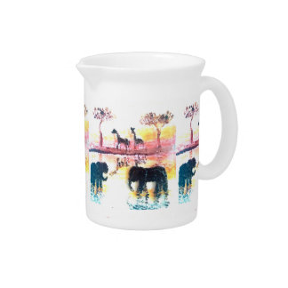 Elephant, Giraffe Safari Sunset Art Drink Pitcher