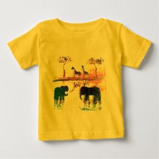 Elephant, Giraffe Safari Sunset Art T Shirt