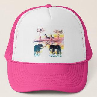 Elephant, Giraffe Safari Sunset Art Trucker Hat