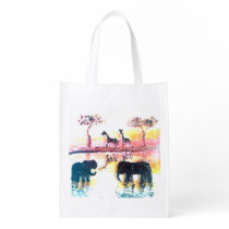 Elephant, Giraffe Safari Sunset Wildlife Art Grocery Bag