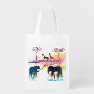 Elephant, Giraffe Safari Sunset Wildlife Art Reusable Grocery Bag