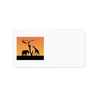 Elephant & Giraffe silhouette custom labels