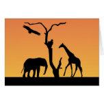 Elephant & Giraffe silhouette greetings card