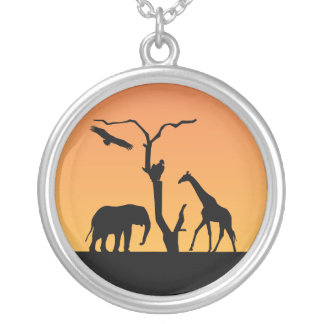 Elephant Giraffe silhouette sunset necklace