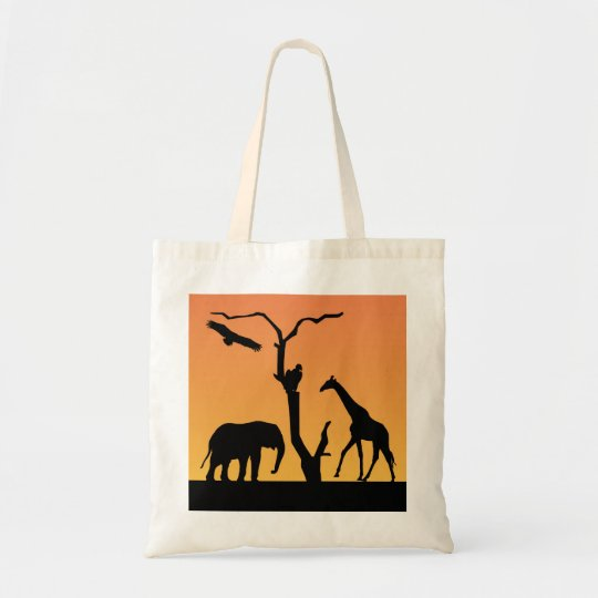 Elephant & Giraffe silhouette sunset tote bag
