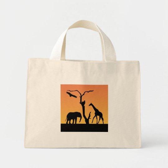 Elephant & Giraffe silhouette tote bag