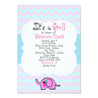 Elephant Girl Baby Shower Poster Card
