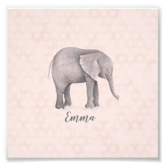 Elephant Girl with Pink Geometric Background Photo Print