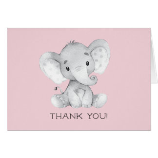 Elephant Girls Baby Shower Thank You Note Card