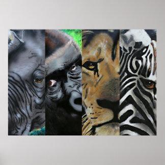 elephant, gorilla, lion, zebra poster