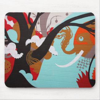 Elephant Graffiti Mouse Pad