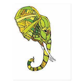Elephant graphic design postcard