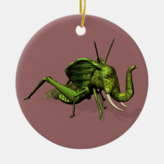 Elephant Grasshopper Crossbreed Double-Sided Ceramic Round Christmas Ornament