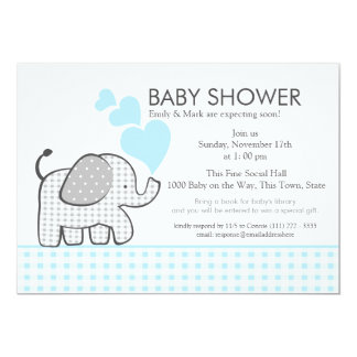 Elephant Gray Gingham Baby Shower 5x7 Paper Invitation Card