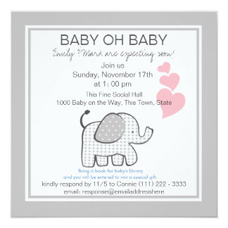Elephant Gray Gingham Baby Shower 5.25x5.25 Square Paper Invitation Card